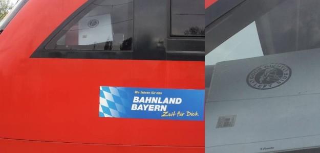 Linke unerwünscht? - Lok der Seenlandbahn zwischen Pleinfeld und Gunzenhausen am 7. Mai 2013